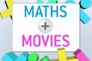 Maths + Movies logo showing bright coloured mathematical symbols around the title 'Maths + Movies'